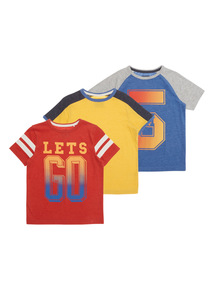 Boys Multicoloured T-shirts 3 Pack (9 months - 6 years)