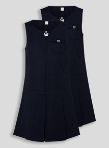 2 Pack Navy Zip Through Pinafore (3-12 years)