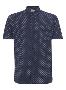 Navy Patterned Oxford Shirt