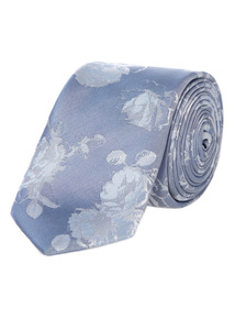 Blue Floral Wedding Tie