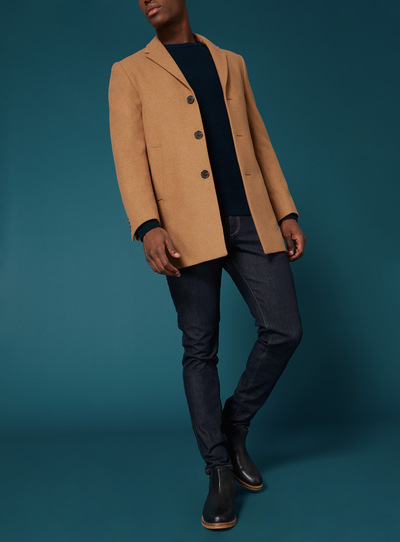 Premium Camel Slim Fit Overcoat
