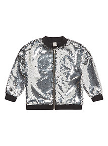 Silver Sequin Bomber Jacket (3-14 years)