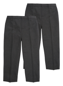 Boys Grey Woven Generous Fit Trousers 2 Pack (3-12 years)