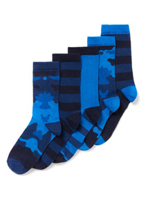 5 Pack Blue Camouflage Socks