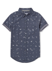 Blue Woven Skater Shirt (3-14 years)