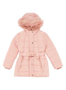 Girls Pink Puffa Coat (3-12 years)