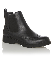 Black Cleated Sole Chelsea Brogue Boot