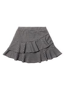 Black Gingham Frill Skirt (3-14 years)
