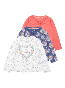 Girls White Printed Tops 3 Pack (0-24 months)