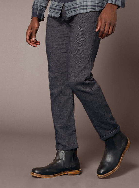 Premium Charcoal Pleated Chinos with Stretch