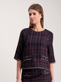 Pink Check Fringed Hem Top