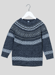 Grey Fairisle Patterned Jumper (3-14 Years)