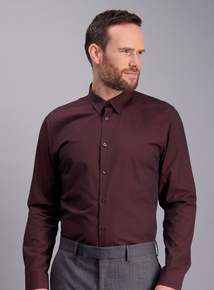 Online Exclusive Burgundy Slim Fit Textured Shirt