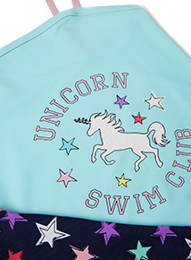 2 Pack Multicoloured Unicorn & Star Print Swimming Costumes