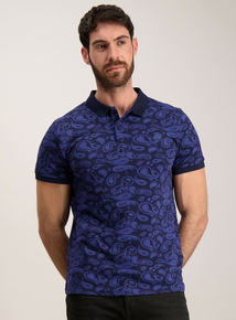 Admiral Navy Paisley Print Polo Top