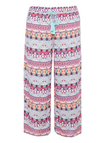 Multicoloured Tribal Pattern Crop Trousers