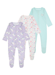 3 Pack Multicoloured Unicorn Sleepsuits (0-24 months)