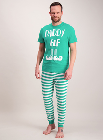 Christmas Green 'Daddy Elf' Pyjamas
