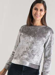 Premium Online Exclusive Grey Velvet Sweatshirt
