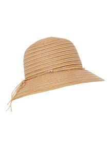 Natural Beaded Lurex Cloche Hat