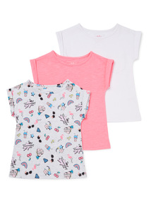 3 Pack Multicoloured Flamingo Tops (3-14 years)