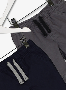 Navy & Grey Woven Joggers 2 Pack
