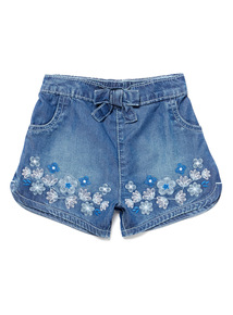 Blue Denim Flower Embroidered Shorts (0-24 months)