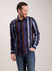 Navy & Brown Stripe Slim Fit Shirt
