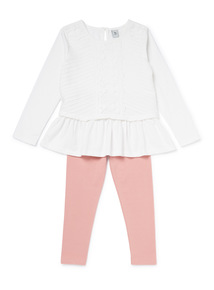 White Top and Pink Leggings Set (9 months-6 years)