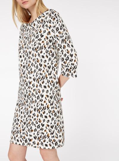 Multicoloured Leopard Print Ponte Shift Dress