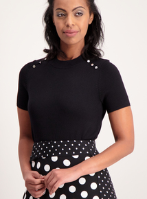 Black Button-Shoulder Knitted Top