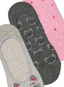 edde657b1c1 Grey   Pink Cat Footsie Socks 3 Pack
