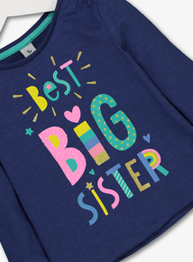 Blue 'Best Big Sister' Glitter Slogan Top (1- 6 Years)