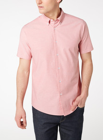 Coral Regular Fit Oxford Shirt With Stretch