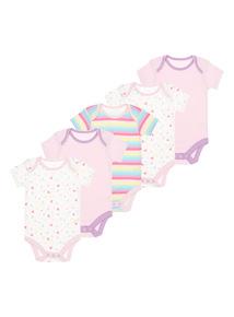 Girls Pink Rainbow Bodysuits 5 Pack (0-24 months)