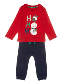 Red Two Piece Christmas Ho Ho Jersey Set (0-24 months)