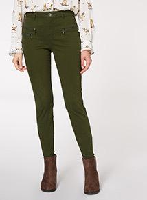 Khaki Zip Detail Trouser