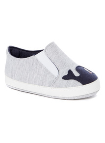 Grey Novelty Slip On Trainers (0-24 months)