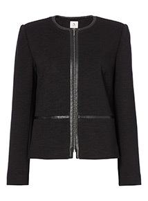 Collarless Rib Jacket
