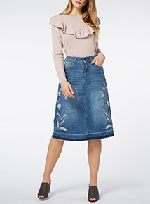 Mid Denim Embroidered Skirt
