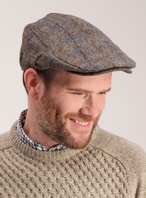 Menswear Harris Tweed Brown Flat Cap  1a17b59db5f