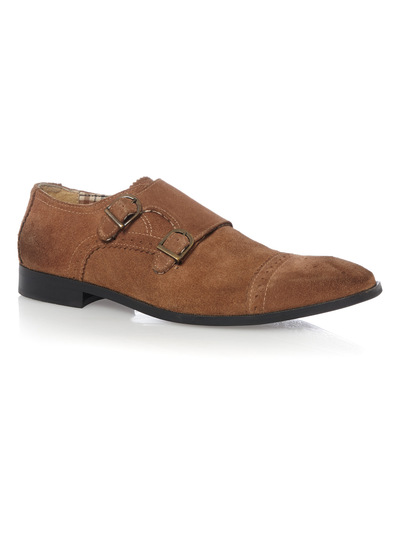 Tan Suede Monk Shoes