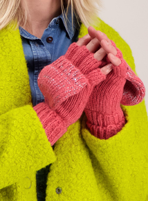 Pink Sequin Foldover Mittens