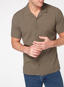 Khaki Plain Cotton Shirt