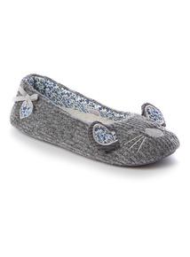 Grey Mouse Ballerina Slipper