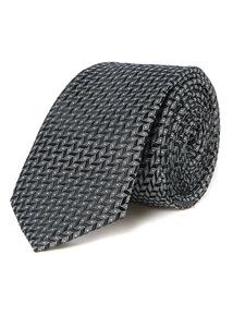 Black Silver Textured Tie