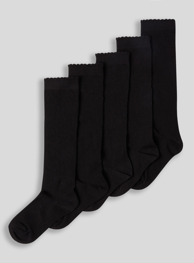 60053d6d0 Kids Black Knee High Star Socks 5 Pack (6 infant-5.5 adult)