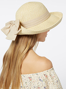 Natural Floppy Bow Hat