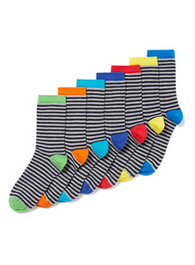 7 Pack Multicoloured Bright Stripe Socks (3 infant-6.5 adult)