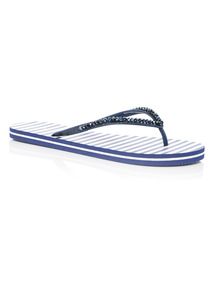 Navy Stripe Flip Flops